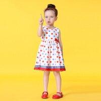 2017 Verão Bonito Do Bebê Meninas Polka Dots Vestido Colorido pontos Vermelhos Azul Sassy Botão Decoração Arco Nó Age2345678 Anos velho