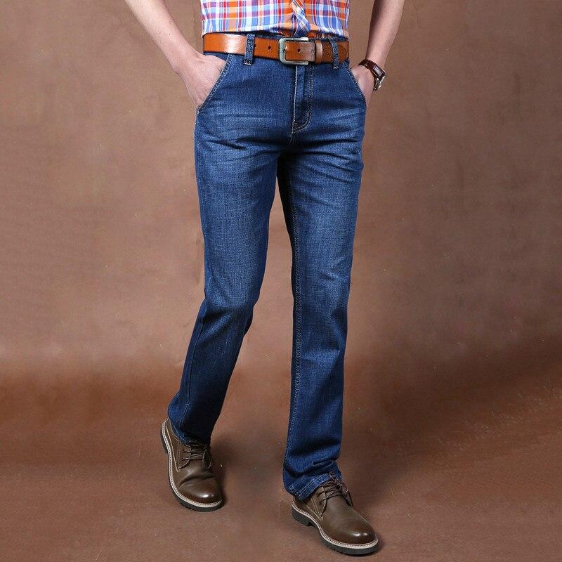 Man Straight Pants Denim Thin Summer Trousers Fro Men Blue Jeans Casual Business Men Pants Jean Homme Denim Pants Mena3688 women girls casual vintage wash straight leg denim overall suspender jean trousers pants dark blue