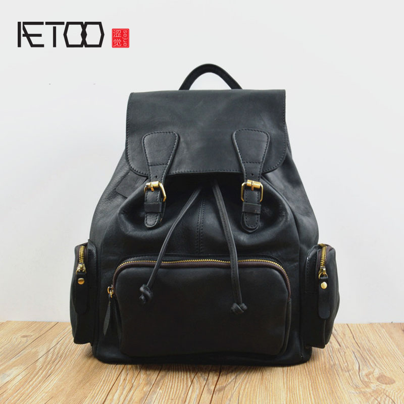 AETOO Europe and the United States retro multi-pocket bucket bag leather shoulder bag men first layer leather backpack women tra  gzl 2017 female backpack europe and the united states simple style fashion backpack college backpack bucket bag leisure package