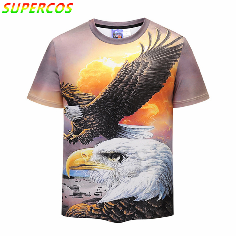 Free Shipping! Newest Good Quality Summer Cool Comfortable Short Sleeve T-shirt With Flying Eagle King Artistic 3D Sky Print