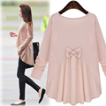 2017 New Women long-sleeved shirt loose round neck blouse women shirt Silk cotton clothes shirt for girl ladys fashion Bow Shirt