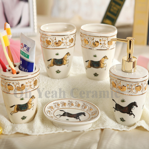 Porcelain Bathroom Sets Ivory Horse Design Embossed Outline In Gold Accessories 5 Pieces Gifts
