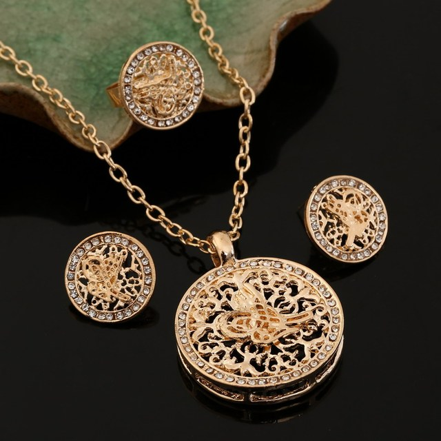 ZOSHI Gold Silver Bridal Jewelry Sets Hollow Round Pendant Necklace Earrings Rin