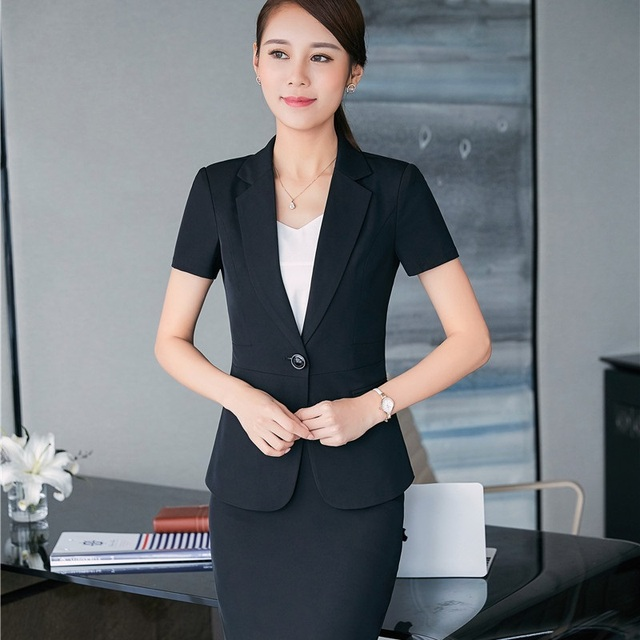 ddeb55d3b91f 2017 Summer Formal Professional Work Wear Suits With Tops And Skirt For Business  Women Work Wear Uniforms Outfits Plus Size 3XL