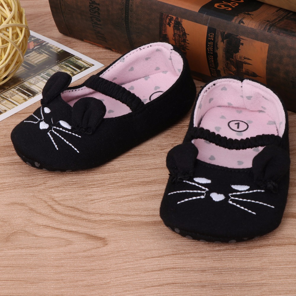 Infant Kid Girls Toddlers First Walkers Cotton Cloth Shoes Cartoon Prewalkers 0-18 months old Crib Shoes Anti-Slip kitten Shoes