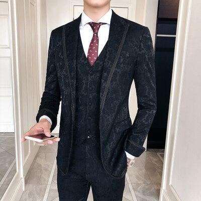 Pants Groom Suit Italian-Suits Floral Court-Design Black Wedding Mens Luxury 3pieces