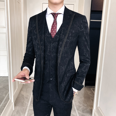 3 Pieces Complete Suits Wedding Mens Italian Suits And Pants For Men Luxury Court Design Black Floral Jacquard Groom Suit Terno