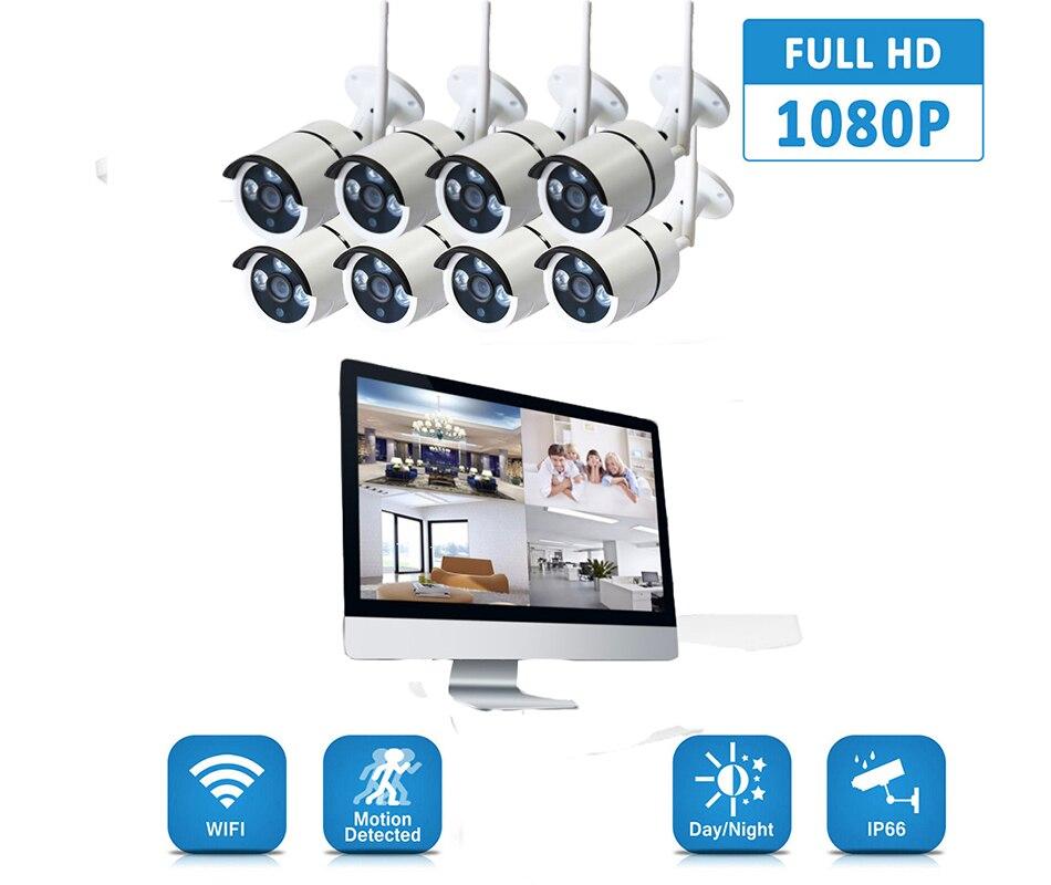 2MP 8CH NVR Kit 1080P Wireless Bullet IR NightVision Outdoor CCTV Camera Security System Surveillance Kits