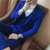 3 шт. Новый брендовый мужской костюм, пиджак, Официальный пиджак в деловом стиле, мужской жених, три предмета, зауженный крой, для вечеринки, о