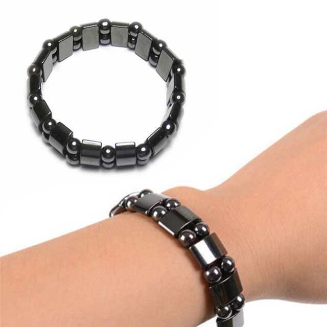 Health care Black healf moon magnetic black stone magnetic therapy slimming Bracelet Weight Loss Round Black Stone Bracelets