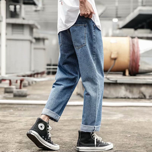 2020 New Fashion Mens Jeans Brand 2019 Hip Hop Autumn Ripped for Men Solid Cotton Full Length Mid Black Color Sale Washed Jeans