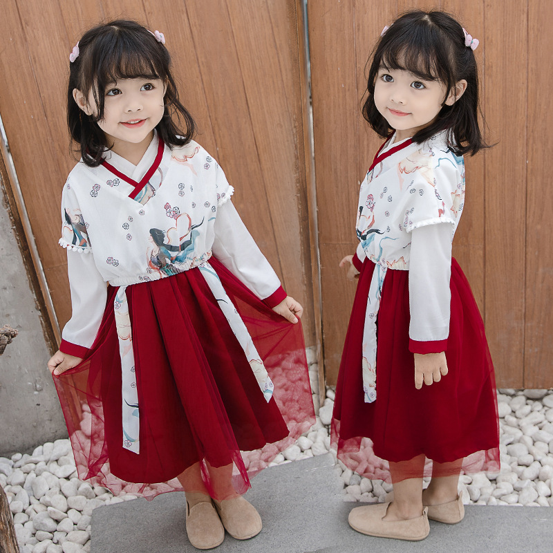 Girls Hanfu  Dress Fashion Chinese National Clothing Retro Tang Suit Red Hanfu Dress Children Han Tang Hanfu Folk Wear SL1171