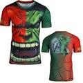 Enojado hulk medias de manga corta patrón estéreo 3D tops de secado rápido camiseta de los hombres Del O-cuello estilo de la moda de verano tops