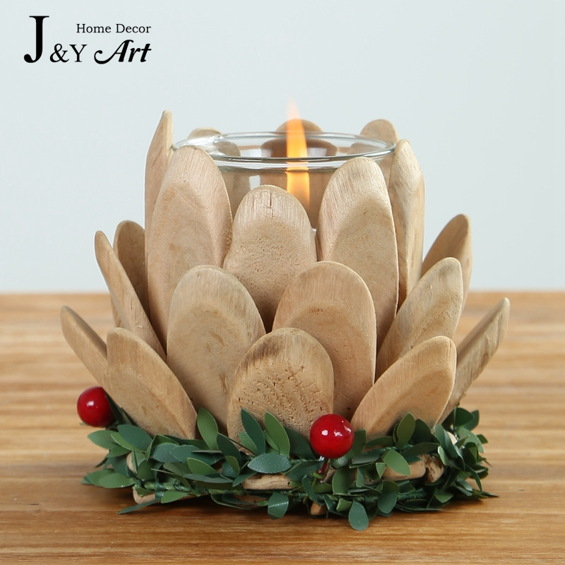 Handmade Wooden Candlestick creative gifts lotus with small tealight for wedding home decoration  # Objet Deco Bois Naturel