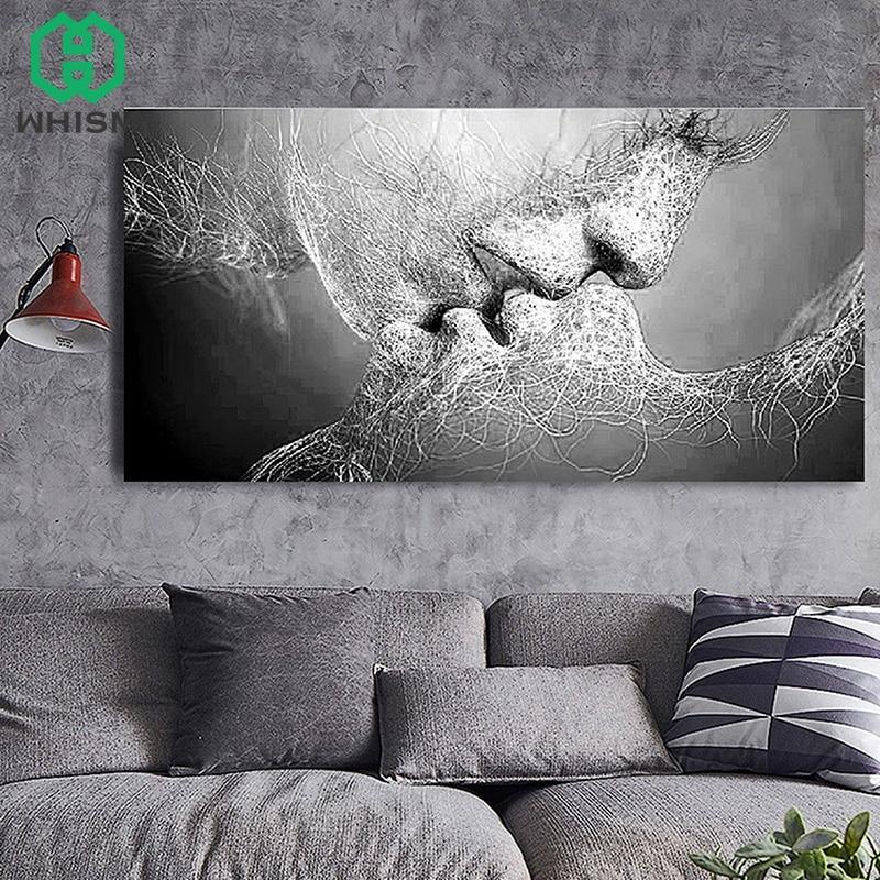 WHISM нетканые любовь поцелуй Картина маслом абстрактные пары холст картины для гостиной стены печать без рамки Декор