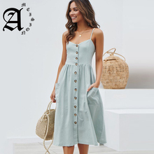 Ameision Women Summer Dress 2019 Sexy Straps Bohemian Floral Tunic Beach Single-breasted Sundress Pocket V-neck Dresses Female