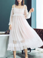 Nightgown Lace spaghetti strap Beautiful Sleepwear nightdress Sexy Sleep Dress Summer Summer Fairy Gauze Princess Girl Court