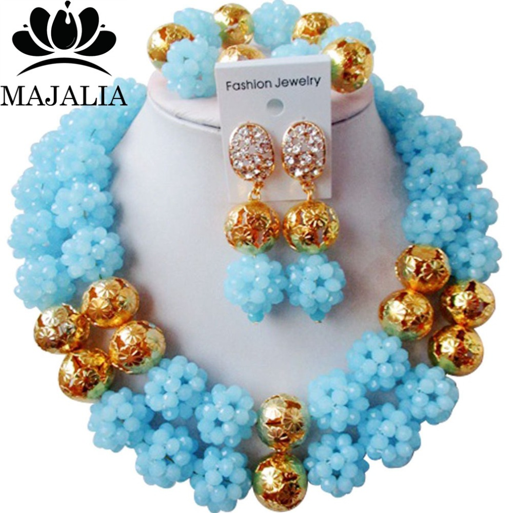 Majalia Classic Nigerian Wedding African Jewelry Set Sky blue Crystal Bead Necklace Bride Jewelry Sets Free Shipping 2JS049Majalia Classic Nigerian Wedding African Jewelry Set Sky blue Crystal Bead Necklace Bride Jewelry Sets Free Shipping 2JS049