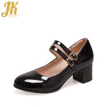 J&K 2017 Big Size 33-43 Classic Mary Janes Women's Pumps Lady's Ankle Strap Shallow Patent Heeled Shoes Woman Round toe Pumps
