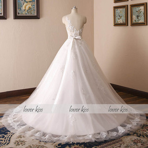 Image 3 - Lover Kiss Vestido De Noiva 2020 Ball Gown Wedding Dress Lace Pearls Sleeveless O Neck Sashes Real Bridal Gowns Bride Dress