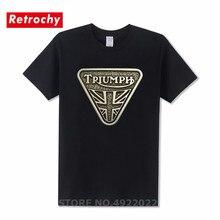 Vintage Antique brass Triumph logo T shirt men Triumph Motorcycle T-Shirt hombre Hi-Streetwear Retro design luxury brand clothes