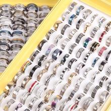 50 шт Смешанные стильные кольца из нержавеющей стали мужские женские модные ювелирные изделия партия обручальные юбилейные вечерние кольца Подарки