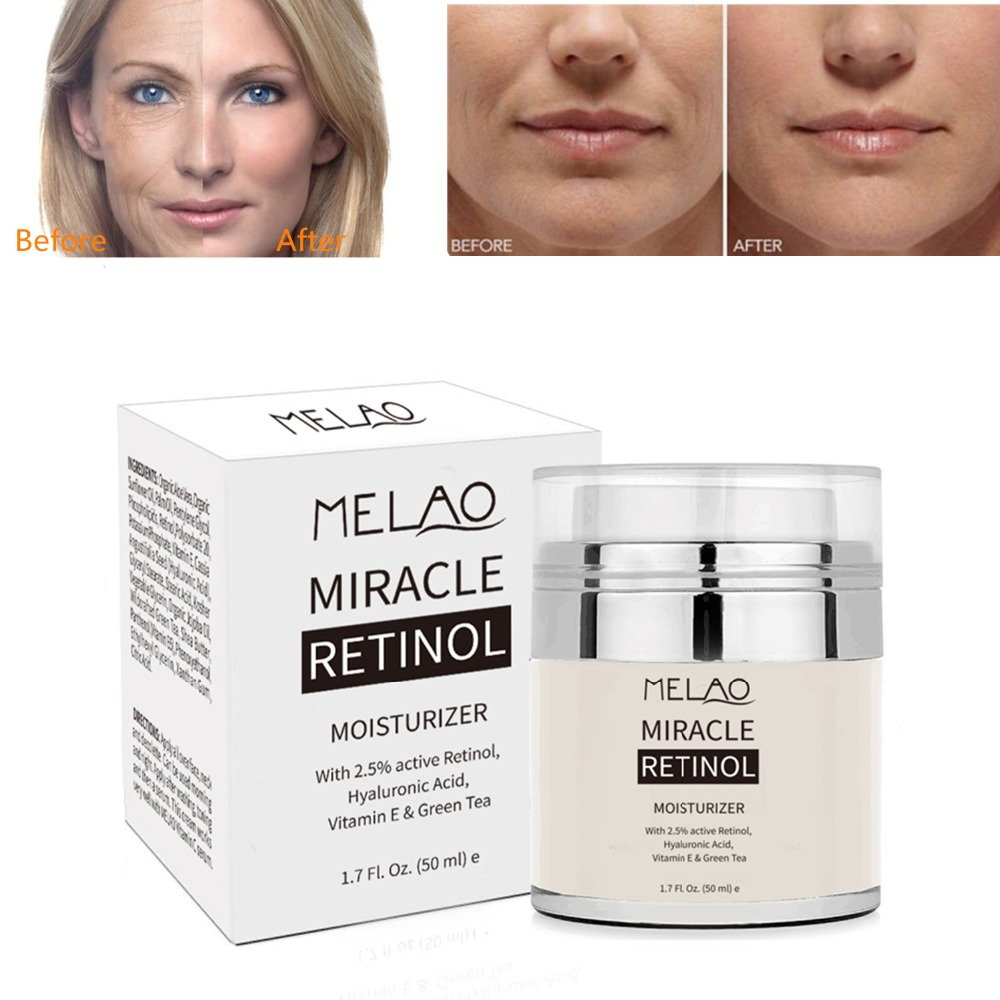 MELAO 50ML Retinol 2.5% Moisturizer Cream Anti Aging and Reduces Wrinkles Fine Lines Day and Night Retinol Cream Drop shipping sebamed anti dry night intensive cream 1 69oz 50ml