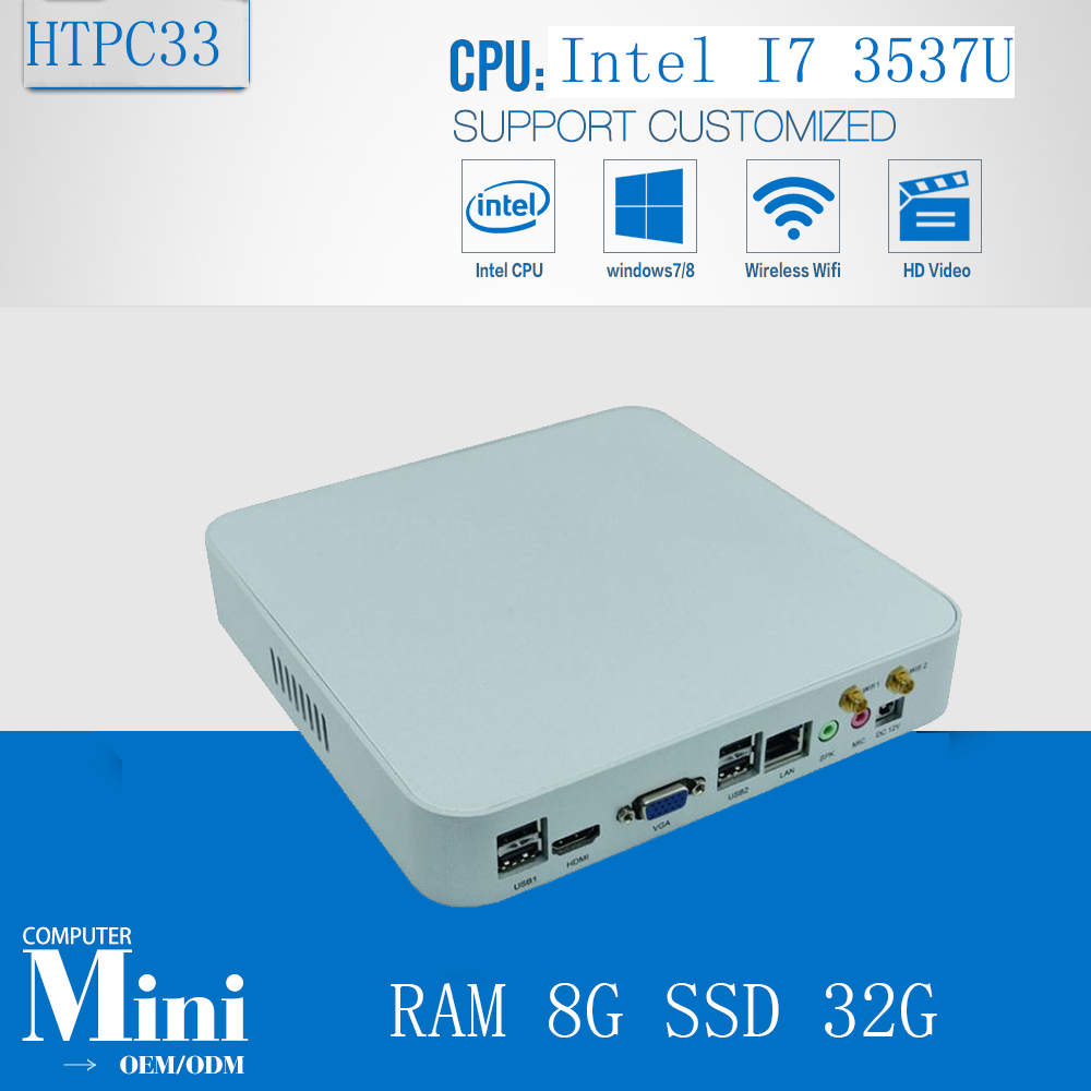 3 Years Warranty HTPC Living Room Mini PC Intel Core I7 3537U 8GB Ram 32G SSD  Media Player 1080P Display