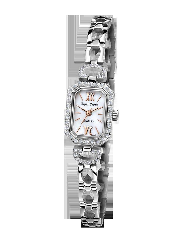Royal Crown Jewelry Watch 6538S Italy brand Diamond Japan MIYOTA platinum Silver bracelet 15*20.5mm Claw set Soviet drill the silver crown