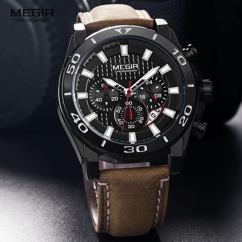MEGIR Men 39 s Leather Strap Army Sports Quartz Watches Waterproof Luminous Chronograph Wristwatch Man Relogios Clock 2094 Black in Quartz Watches from Watches