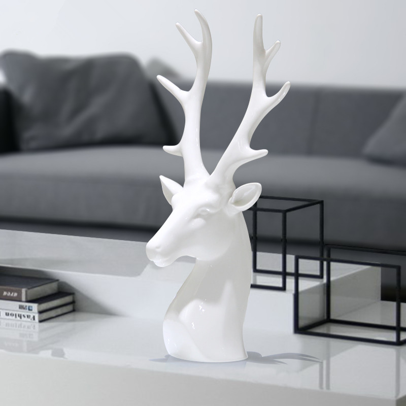 creative white ceramic deer head figurines ornaments porcelain animal head scupltures for modern home decors