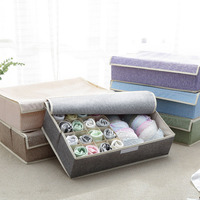 17 Grid Folding Cloth Storage Box Dustproof Cabinet Bra/Underwear/Sock Organizer For Tie Sock Short Divider Box Large 50*31*13cm|Drawer Organizers| |  -