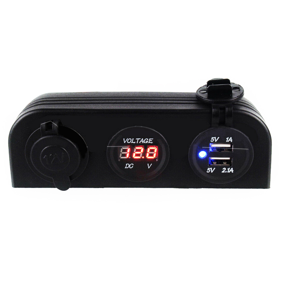 12V Dual <font><b>USB</b></font> Sockets Voltmeter Car Cigarette Lighter Socket Charger Power Adapter Outlet Port Waterproof Panel for Car image