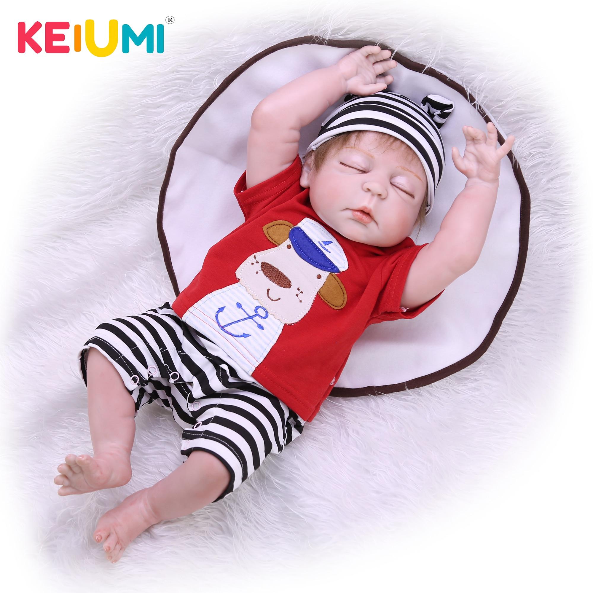 23 Inch Realistic Reborn Babies Doll Full Silicone Body Vinyl Lifelike Alive Boy Baby Dolls Closed