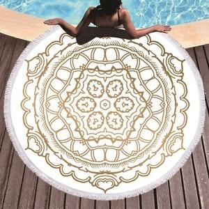 Image 2 - Mandala Printed Beach Towel Golden Microfiber Beach Towel Large Summer Tassel Bath Towel Sport Travel Picnic Blanket Yoga Toalla