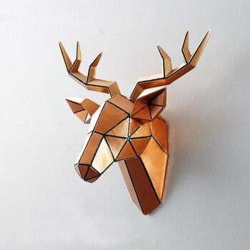 อุปกรณ์ตกแต่งบ้าน Big Deer Head ประติมากรรมแขวนผนังตกแต่ง 3D รูปปั้นห้องนั่งเล่นภาพจิตรกรรมฝาผนัง ...