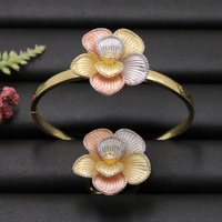 Lanyika Jewelry Set India Elegant Flower Bangle with Ring for Engagement Wedding Popular Luxury Best Gifts