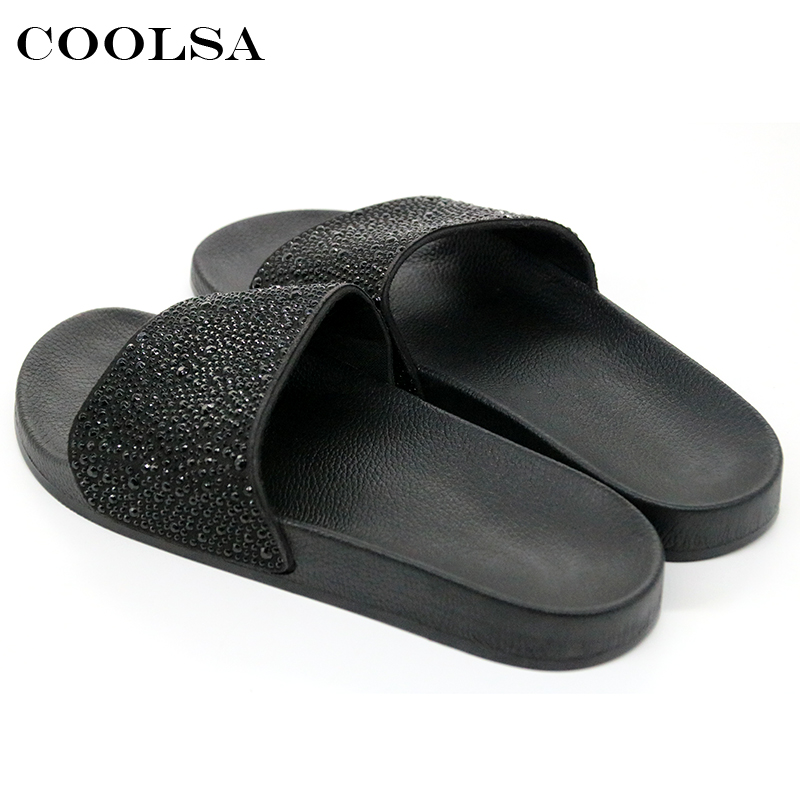 969ee3610 COOLSA Hot Summer Women Slippers Rhinestone Bling Slides Flat Soft Home Flip  Flops Female Sparkling Crystal Shoes Beach Sandals