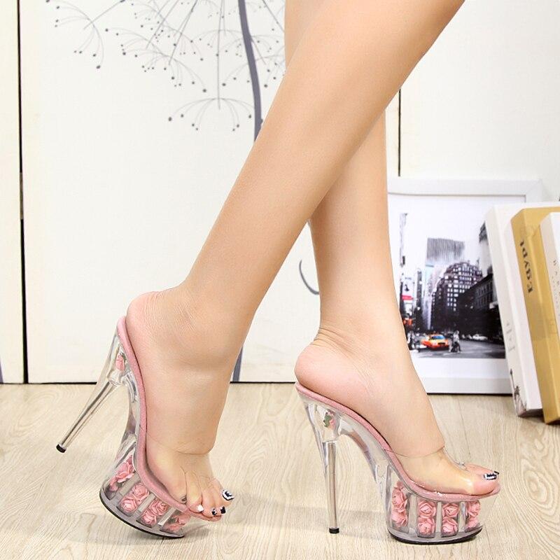 플랫폼 꽃 슬리퍼 여성 신발 슬라이드 여름 15 cm 하이힐 크리스탈 로즈 숙녀 신발 투명 엿봄 발가락 클리어 힐-에서슬리퍼부터 신발 의  그룹 1