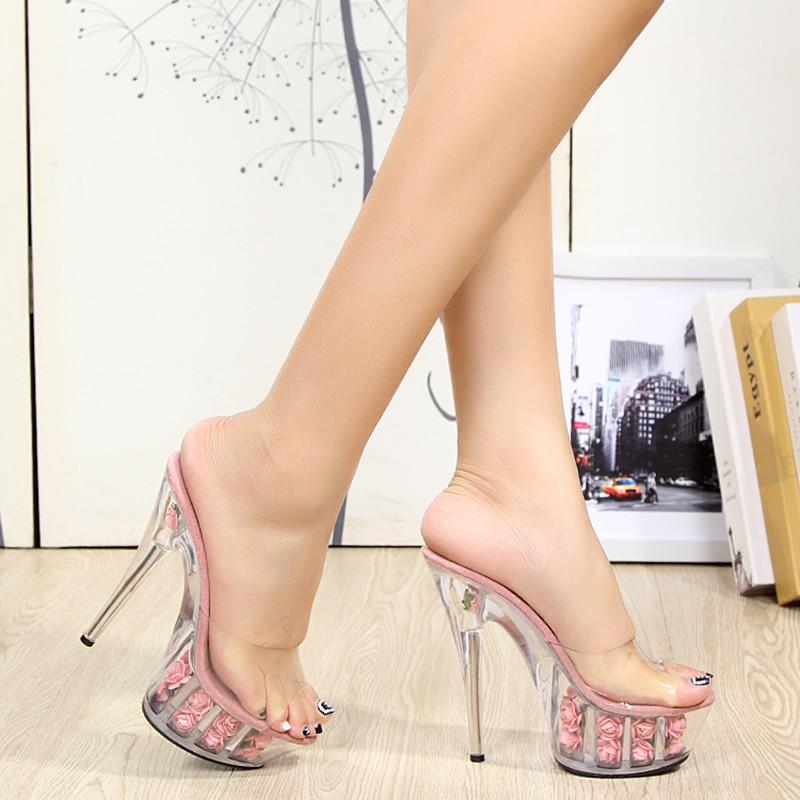 プラットフォーム花スリッパ女性の靴スライド夏 15 センチメートルハイヒールクリスタルローズ女性の靴透明明確なかかと  グループ上の 靴 からの スリッパ の中 1