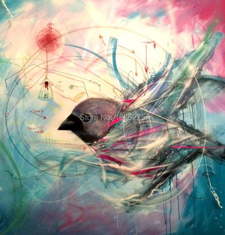 Moderne abstracte canvas muur handgemaakte grote foto liefde vogels slaapkamer olieverfschilderij voor woonkamer decoratie