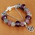 HOMOD Vintage Silver Charm Bracelets For Women Rose Beads fit Brand Bracelets & Bangles Pulseras DIY Jewelry
