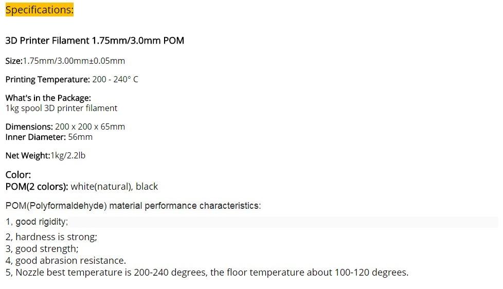 3D Printer Filament - POM 1