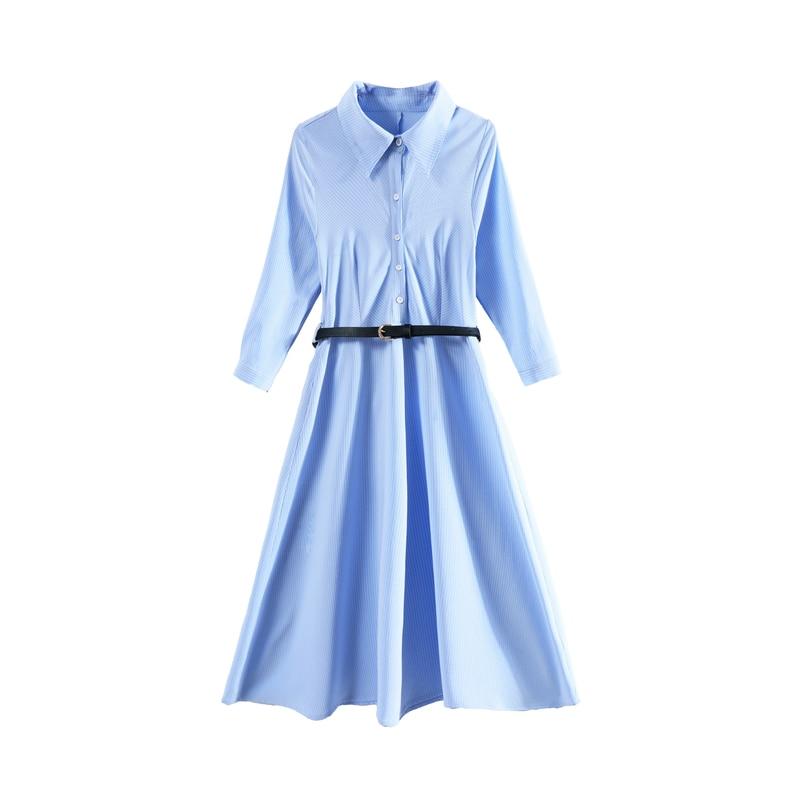 2019 Printemps Été Nouvelle Mousseline de Soie Femme Robe Longue Chemise À Manches Robe Solide Couleur Version Coréenne Slim Dames Robes