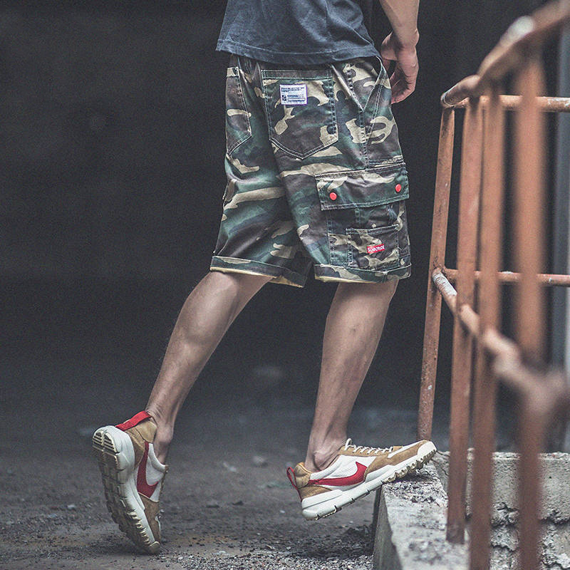 Hip Hop Shorts Men Summer Workout Shorts With Side Pocket Cool Camouflage Slim Fit Shorts Trousers Fashion Mens Cargo Shorts Men