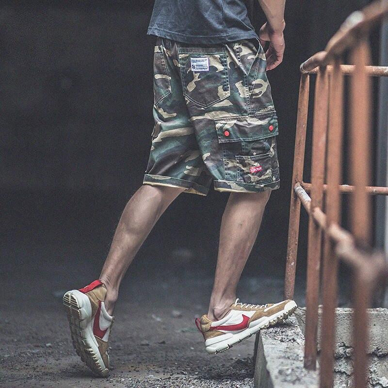 Calções de Treino de Verão dos Homens do Hip Shorts com Bolso Lateral Legal Camuflagem Magro Ajuste Shorts Calças Moda Masculina Carga Hop