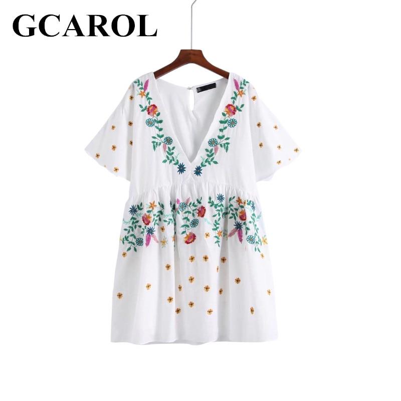 GCAROL Official Store GCAROL V-Neck Floral Embroidery Women Dress Vintage Flare Sleeve  Ethnic Minorities Beach Dress Above Kneel Length Dress