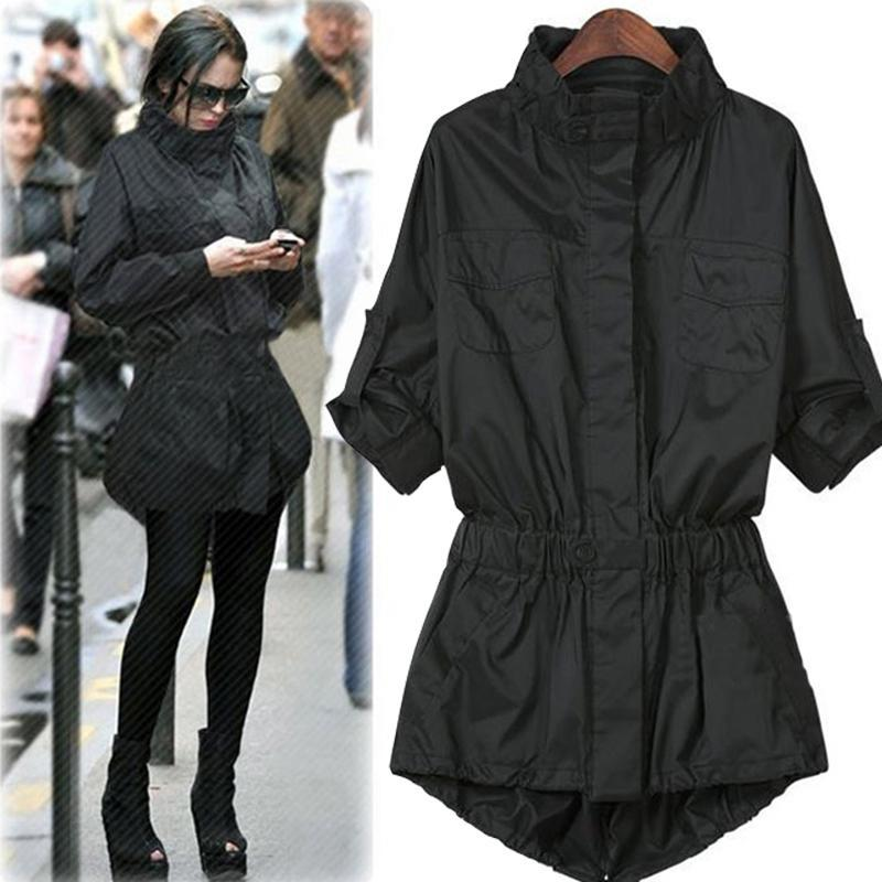 New Spring Autumn   Trench   Coat 2019 Fashion Women Thin Windbreakers Plus Size Turtleneck Black Streetwear Outerwear