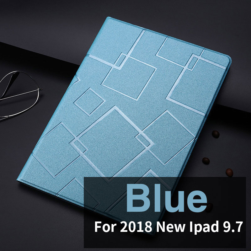 Blue Slim case with geometric pattern and 2stand for iPad 9.7 inch (2017, 2018)