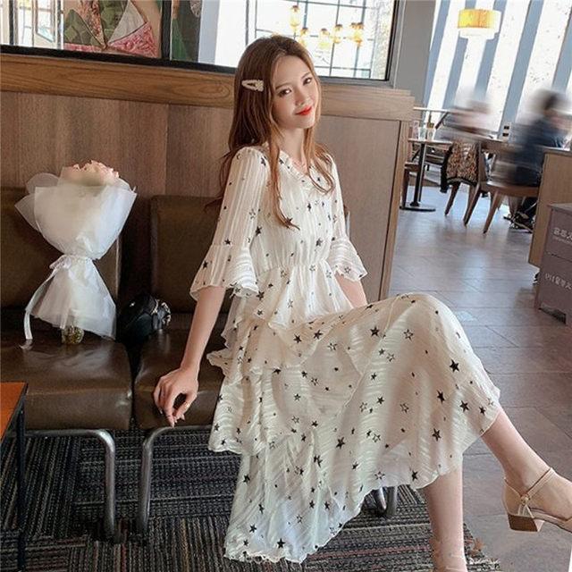 Vestido de verano de chifón estampado con estampado de estrellas para mujer 2019 nuevo vestido de moda con cuello en V y manga pastel Vestidos Midi bata de volantes f886